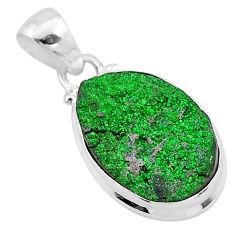 925 sterling silver 11.74cts natural green uvarovite garnet oval pendant t1957