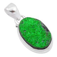 925 sterling silver 11.58cts natural green uvarovite garnet oval pendant t1969