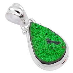 925 sterling silver 7.61cts natural green uvarovite garnet pear pendant t1979