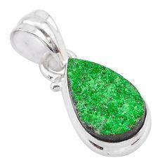 925 sterling silver 4.89cts natural green uvarovite garnet pear pendant t1991