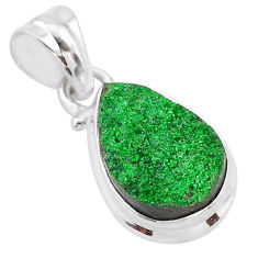 925 sterling silver 6.39cts natural green uvarovite garnet pear pendant t1998