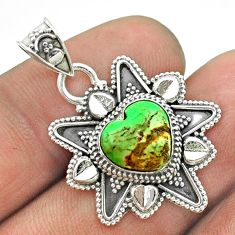 925 sterling silver 4.84cts natural green variscite heart pendant jewelry t56075