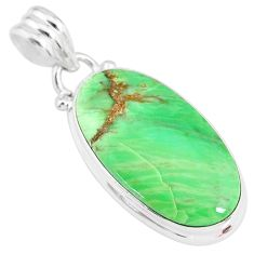 925 silver 13.15cts natural green variscite oval handmade pendant r83585