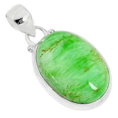 925 silver 13.70cts natural green variscite oval handmade pendant r83614