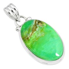 925 sterling silver 13.15cts natural green variscite oval shape pendant r83604