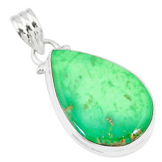 925 silver 12.58cts natural green variscite pear handmade pendant r83591