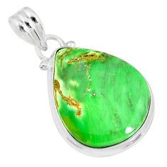 925 silver 14.20cts natural green variscite pear handmade pendant r83609