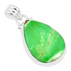 925 silver 12.55cts natural green variscite pear handmade pendant r83619