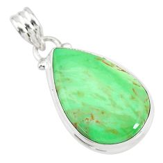 925 sterling silver 14.07cts natural green variscite pear pendant r83600