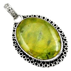 Clearance Sale- 925 sterling silver 18.70cts natural green vasonite oval pendant jewelry d41227