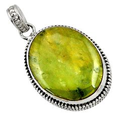 Clearance Sale- 925 sterling silver 23.46cts natural green vasonite oval pendant jewelry d41230