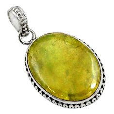 Clearance Sale- 925 sterling silver 15.08cts natural green vasonite oval pendant jewelry d41233