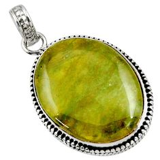 Clearance Sale- 925 sterling silver 24.38cts natural green vasonite oval pendant jewelry d41239