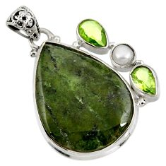 Clearance Sale- 925 sterling silver 28.86cts natural green vasonite peridot pearl pendant d41303