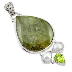 Clearance Sale- 925 sterling silver 26.70cts natural green vasonite peridot pearl pendant d41807