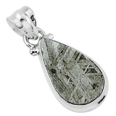 925 sterling silver 8.62cts natural grey meteorite gibeon pear pendant r95360