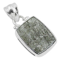 925 sterling silver 8.14cts natural grey meteorite gibeon pendant jewelry r95356