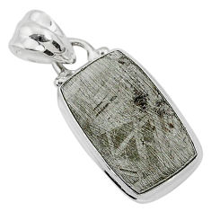 925 sterling silver 8.99cts natural grey meteorite gibeon pendant jewelry r95368