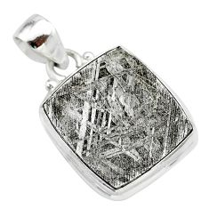 925 sterling silver 20.15cts natural grey meteorite gibeon pendant t29094