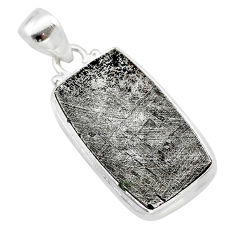 925 sterling silver 20.33cts natural grey meteorite gibeon pendant t29111