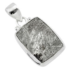 925 sterling silver 11.57cts natural grey meteorite gibeon pendant t29147