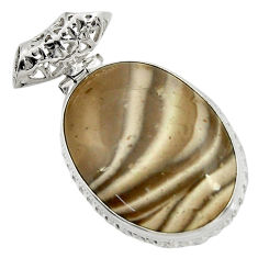 925 sterling silver 25.00cts natural grey striped flint ohio oval pendant d41547