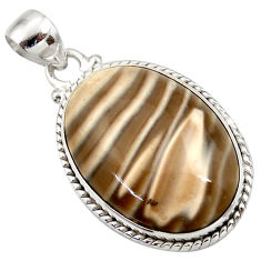 Clearance Sale- 925 sterling silver 22.54cts natural grey striped flint ohio oval pendant d42403