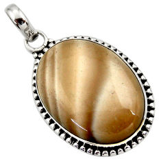 Clearance Sale- 925 sterling silver 18.68cts natural grey striped flint ohio pendant d42407