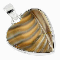 925 sterling silver 17.18cts natural grey striped flint ohio pendant r83189