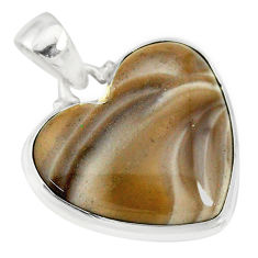 925 sterling silver 14.05cts natural grey striped flint ohio pendant r83195