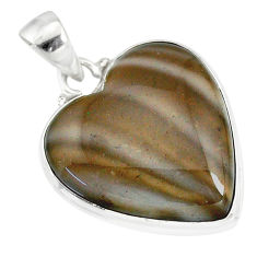 925 sterling silver 16.73cts natural grey striped flint ohio pendant r83213