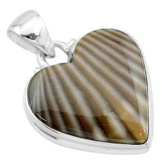 925 sterling silver 14.72cts natural grey striped flint ohio pendant t13291