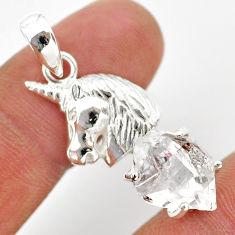 925 sterling silver 7.97cts natural herkimer diamond unicorn pendant t29690