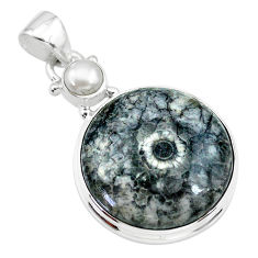 925 sterling silver 17.22cts natural horn coral pearl pendant jewelry t21603