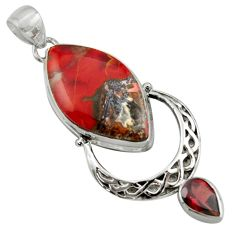 925 sterling silver 20.86cts natural jasper red garnet pendant jewelry r39140