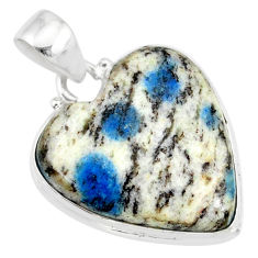 925 sterling silver 15.22cts natural k2 blue (azurite in quartz) pendant r86284