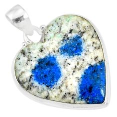 925 sterling silver 17.62cts natural k2 blue (azurite in quartz) pendant r86291