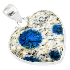 925 sterling silver 16.83cts natural k2 blue (azurite in quartz) pendant r86300