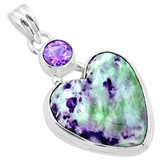 925 sterling silver 15.65cts heart kammererite amethyst pendant jewelry t23078