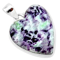 925 sterling silver 25.03cts heart kammererite heart pendant jewelry t23044