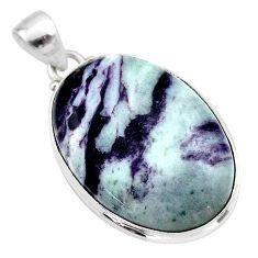 925 sterling silver 25.00cts natural kammererite oval pendant jewelry t46049