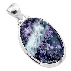 925 sterling silver 18.68cts natural kammererite oval pendant jewelry t46053