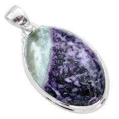 925 sterling silver 22.02cts natural kammererite oval pendant jewelry t46056