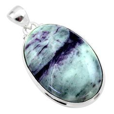 925 sterling silver 28.08cts natural kammererite oval pendant jewelry t46094