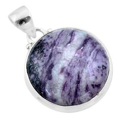 925 sterling silver 18.15cts natural kammererite round pendant jewelry t46033