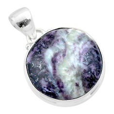 925 sterling silver 15.65cts natural kammererite round pendant jewelry t46036