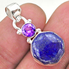 925 sterling silver 5.87cts natural lapis lazuli amethyst hexagon pendant t46484