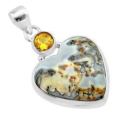 925 sterling silver 19.20cts heart malinga jasper heart citrine pendant t23119