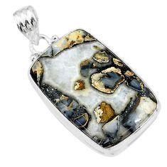 925 sterling silver 22.23cts natural malinga jasper octagan pendant t18455
