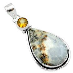 925 sterling silver 19.72cts natural malinga jasper pear citrine pendant t22872